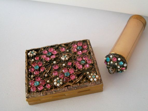 Compact Vintage Rhinestone Encrusted Floral and Gorgeous Compact with Matching Lipstick and case w Original Puff and Mesh Sifter Saks Fifth