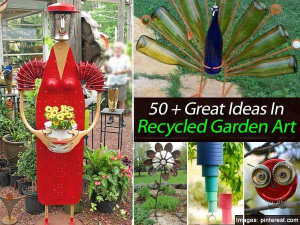 50 great ideas in recycled garden art garden art for Homemade garden decor crafts