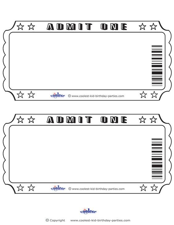Blank Printable Admit One Invitations Movie Ticket Invitations Movie Night Party Movie Ticket Template