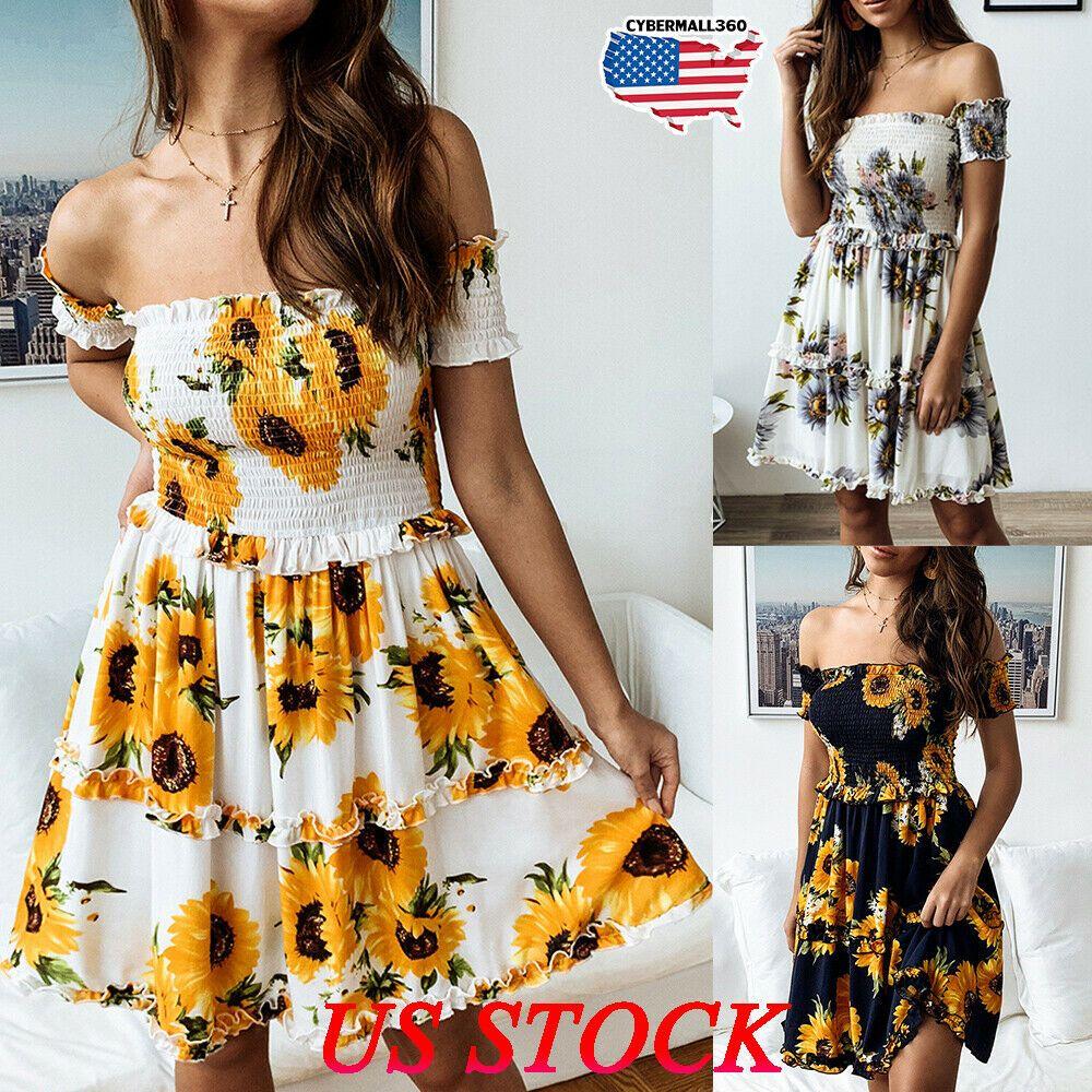 New Womens Sunflower Print Midi Dress Off Shoulder Frill Sundress Short Dresses Navy Dresses Ideas O Blue Dress Casual Maxi Dress Evening Mini Dress Casual [ 1000 x 1000 Pixel ]