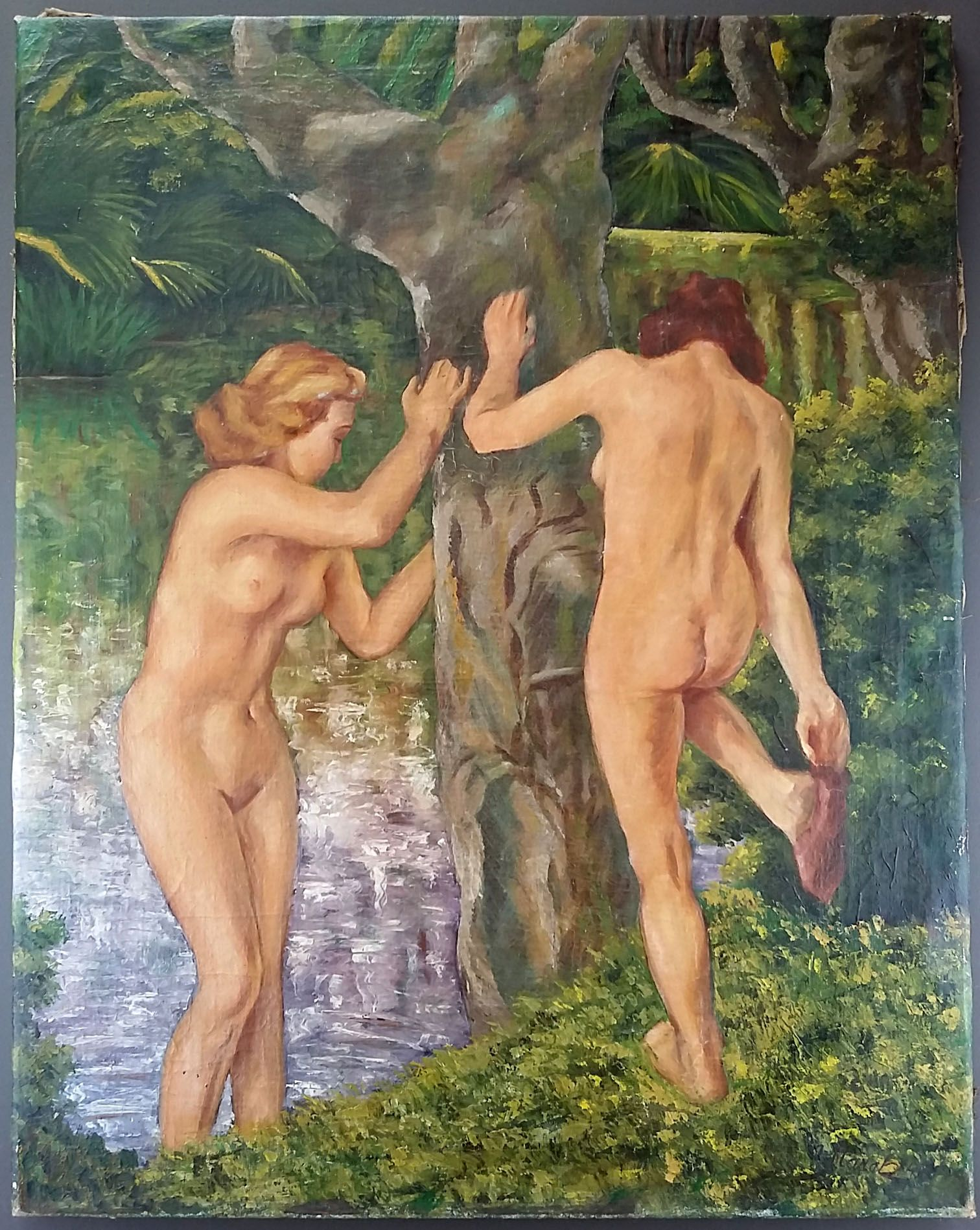 The bathers, in 1947.  The work shows two naked young women near a water source. A beautiful quality painting, very decorative.  Oil on canvas, signed and dated lower right (to decipher).  In good condition (see photos).  Format: 72 cm x 57 cm (28.3 in x 22.4 in).