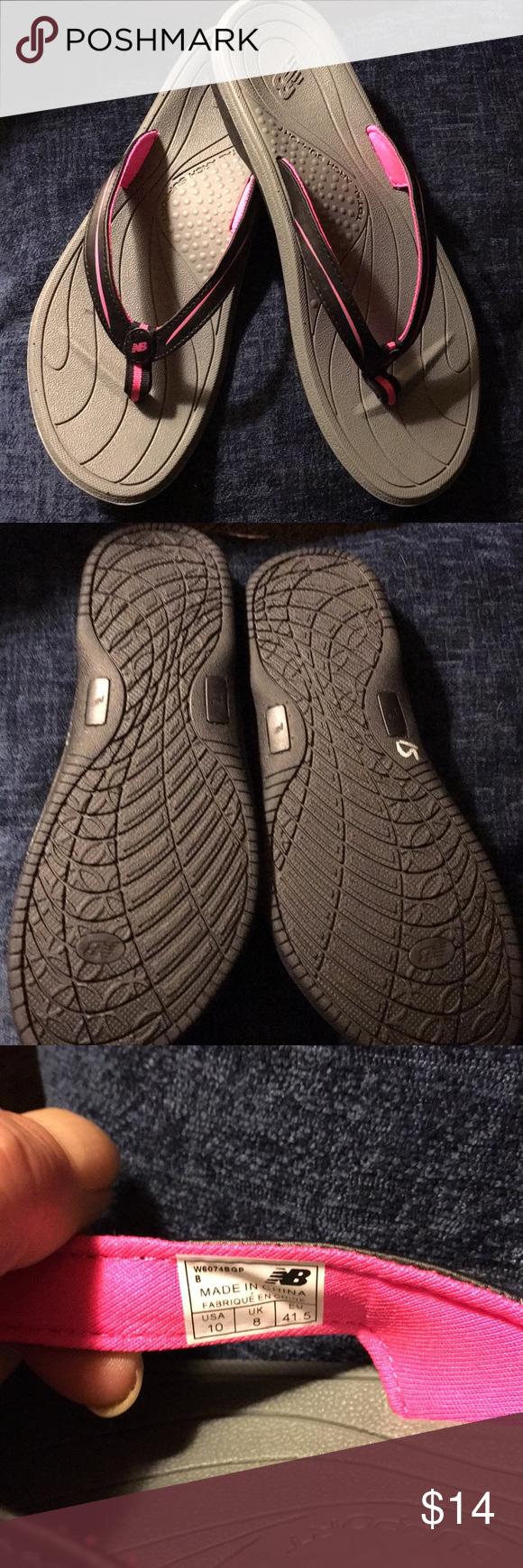 2494bcb887e New Balance flip flops sz 10 Nwot pink n black arch support Cush sole size  woman s 10 New Balance Shoes Sandals