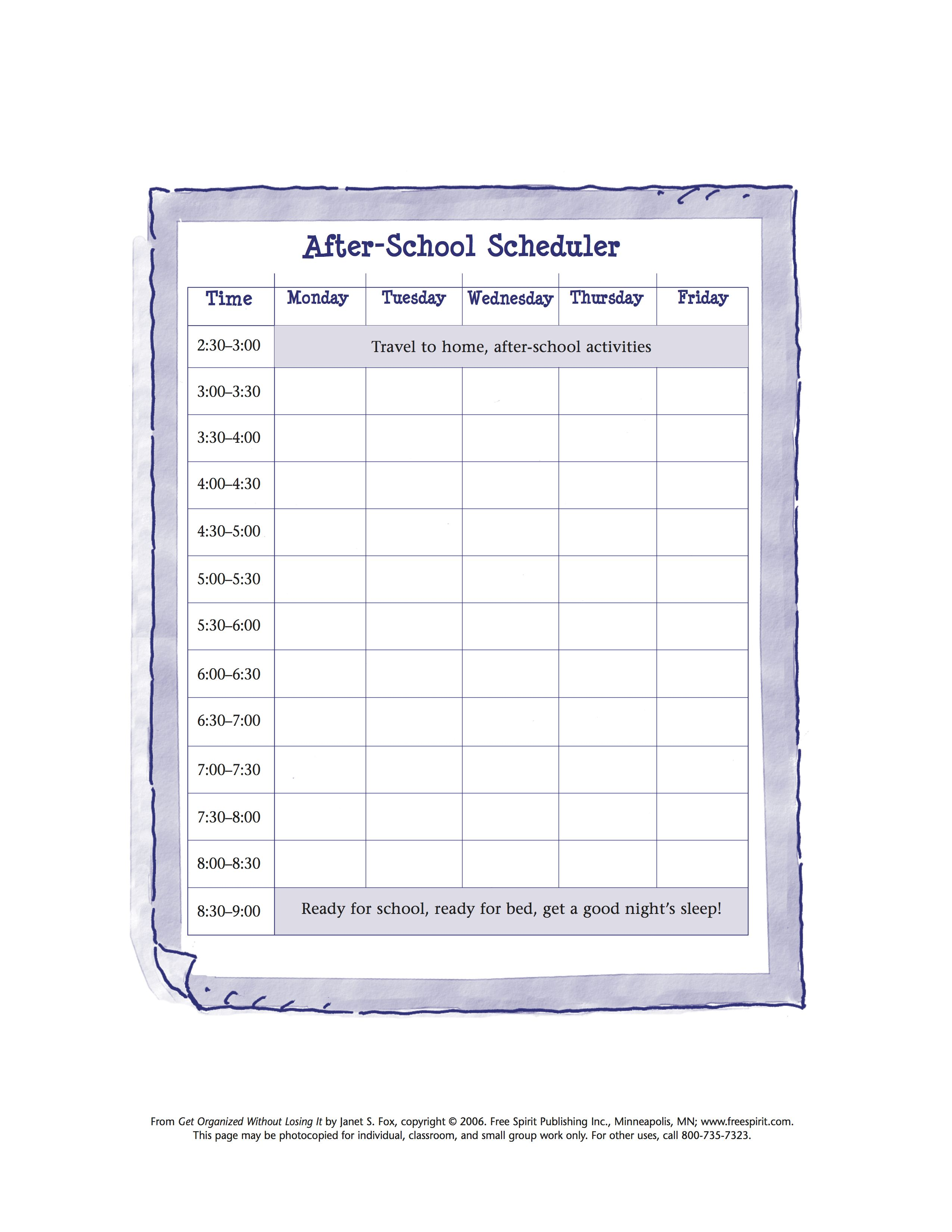Free Printable Worksheet To Help Students Organize Their