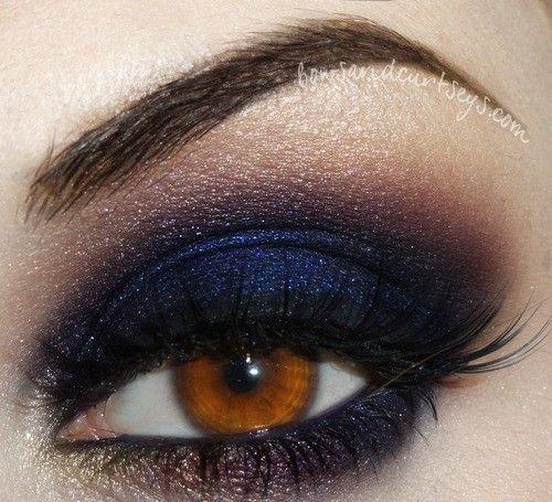 navy blue and purple eye shadow - evening look?
