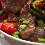 Photo of Beef, Scallions and Red Bell Pepper Sauté-Beef, Scallions an…