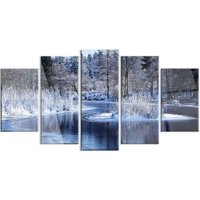 DesignArt 'Winter Lake in Deep Forest' 5 Piece Photographic Print on Canvas Set