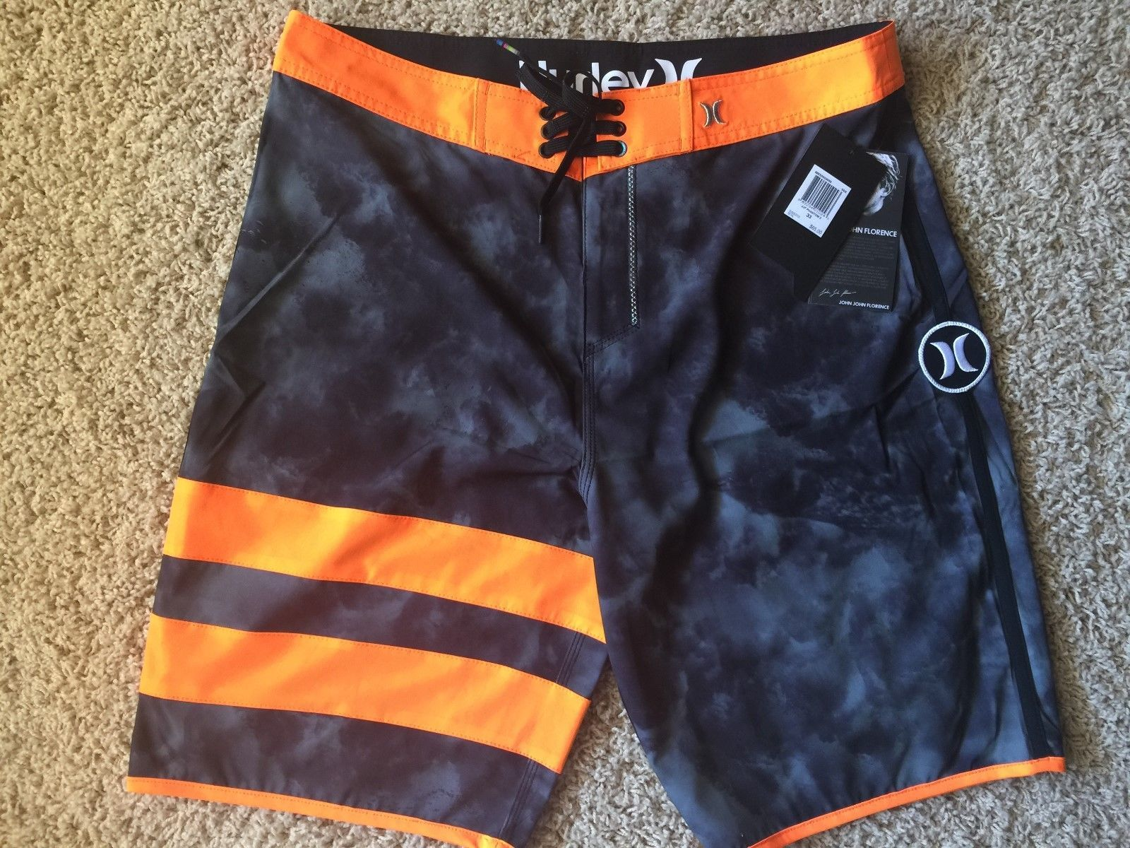 Brand New Hurley Phantom Gray Orange Camo Mens John Florence Boardshorts 30  33 • CAD 43.23