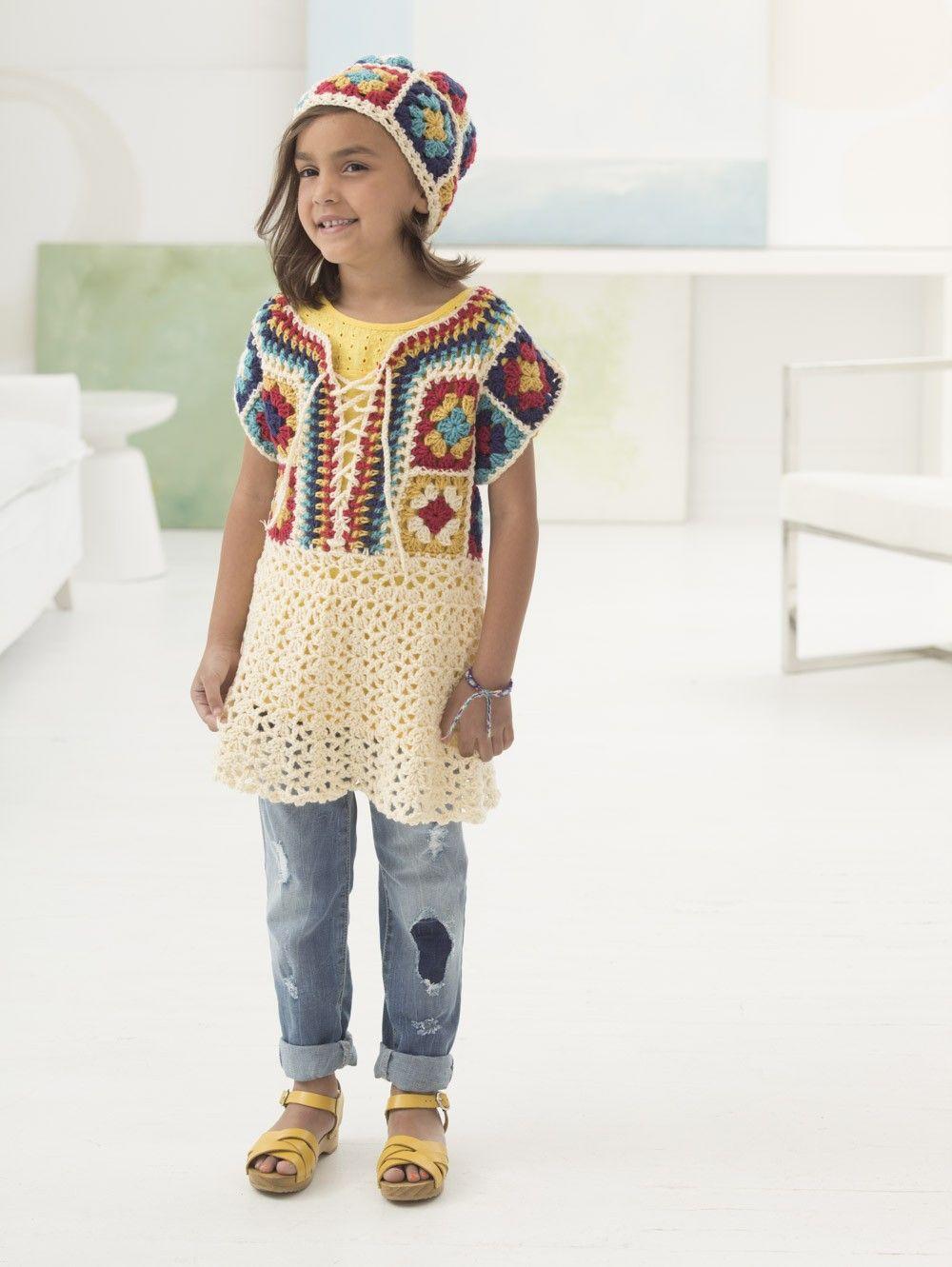 Boho Flair Dress and Hat (Crochet) - Patterns - Lion Brand Yarn ...