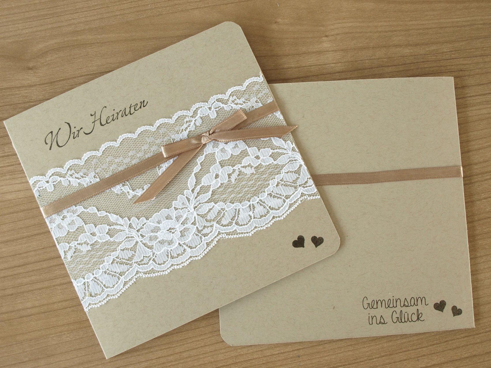 Einladung Hochzeit Wedding Invitation Vintage Style Gemeinsam