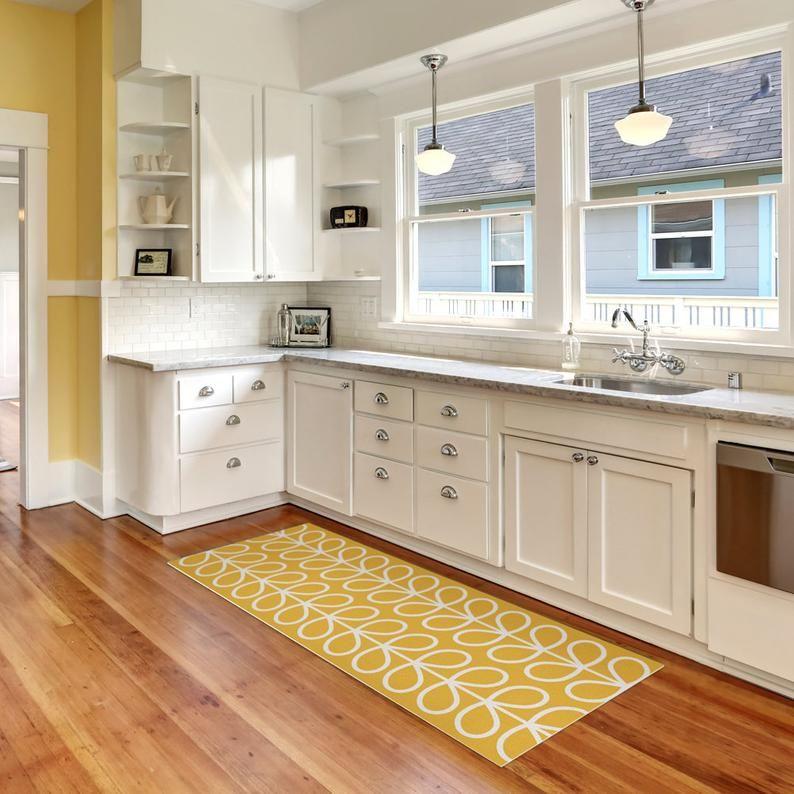 Vinyl Kitchen Rug With Yellow Leaves Vinyl Floor Mat Door Etsy Kitchen Mats Floor Interior Design Kitchen Traditional Kitchen Cabinets