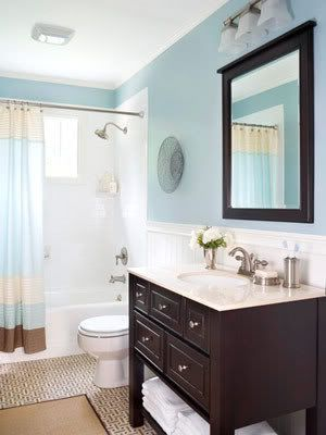 Blue And White Beige Bathroom Ideas With Dark Brown Cabinet