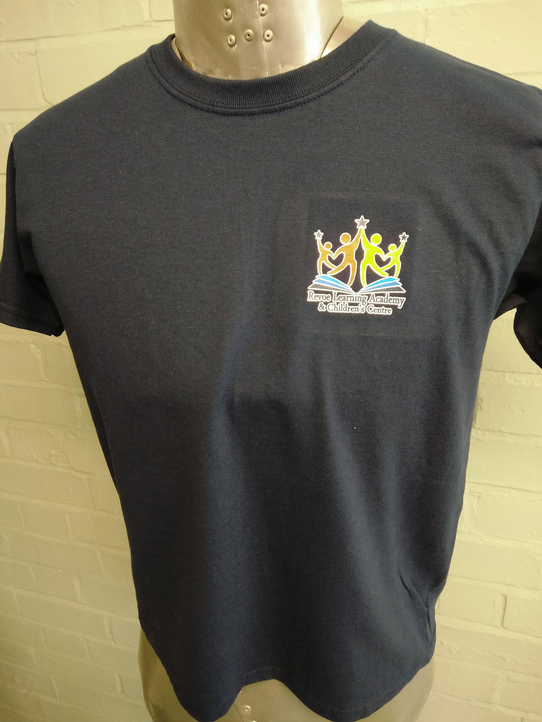 Short Sleeved Black T Shirts With Custom Leavers Print Logos On For