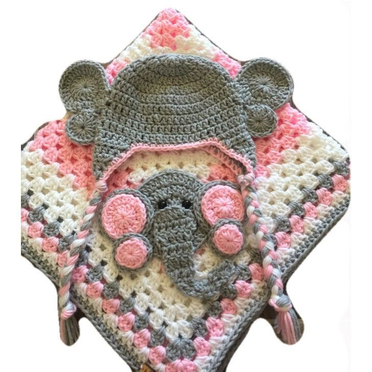 Granny Square Crocheted Baby Blanket With Elephant Accent