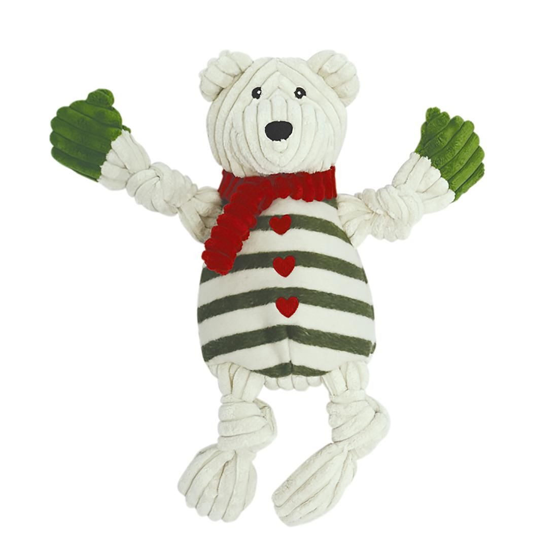 HuggleHounds Holiday Knotties Dog Toy Polar Bear with