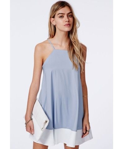 400ead980a8 Missguided - Brooke Colour Block Hem Swing Dress Baby Blue