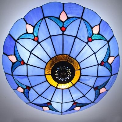 Blue stained glass 12 inch flush mount ceiling light in tiffany blue stained glass 12 inch flush mount ceiling light in tiffany style mozeypictures Images