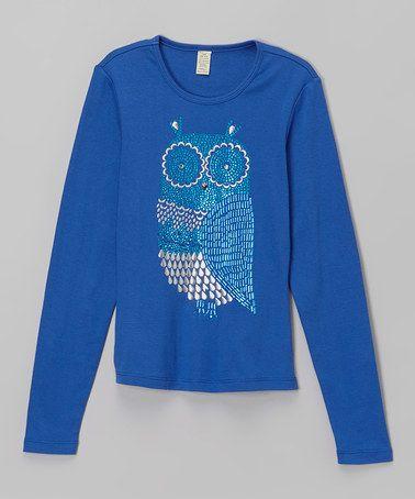 Cobalt Regal Owl Tee - Girls