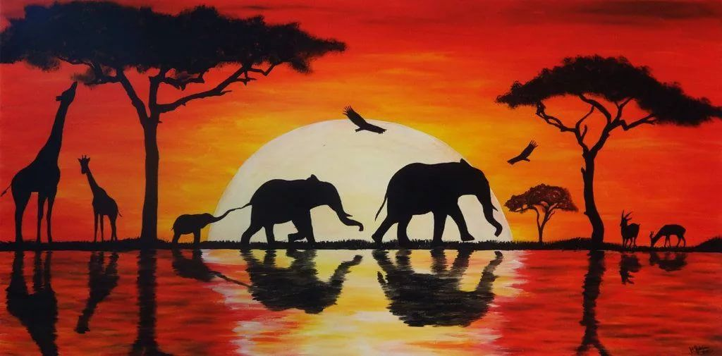Африканская саванна рисунки краски