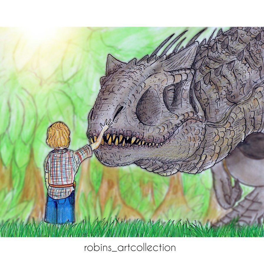 Indominus rex and Gray Mitchell by Robin2701.deviantart