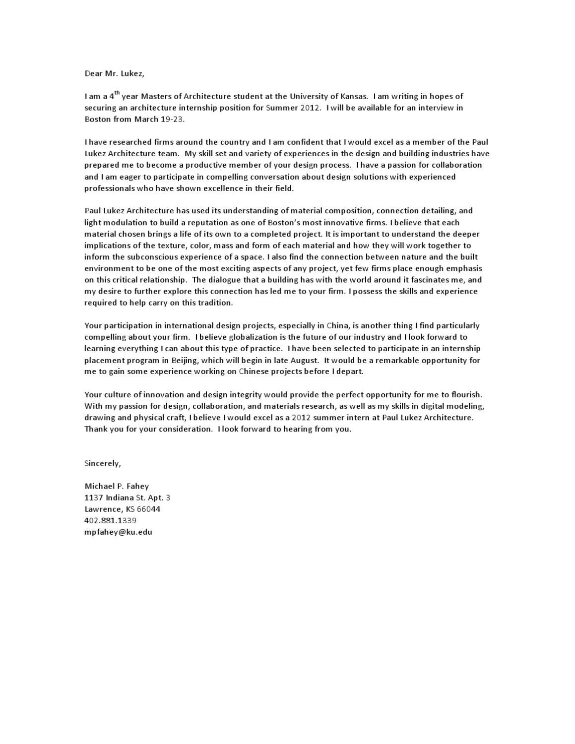 23+ Architecture Cover Letter Cover letter for resume