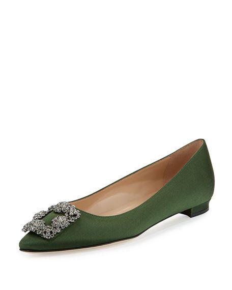 f28d6b116d066 ... sale manolo blahnik hangisi crystal buckle satin flat medium green.  manoloblahnik shoes 263b7 0ed53