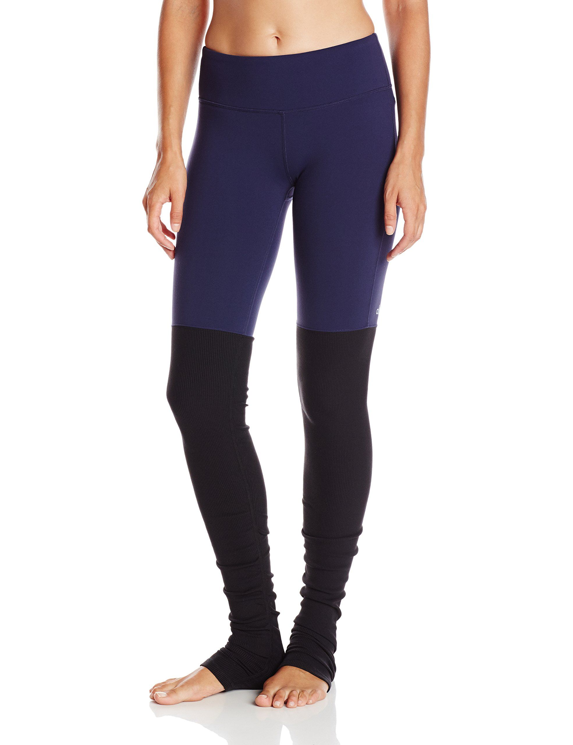 dff87db39c547 Alo Yoga Women's Goddess Ribbed Legging, Rich Navy/Black, Large. Elastic-