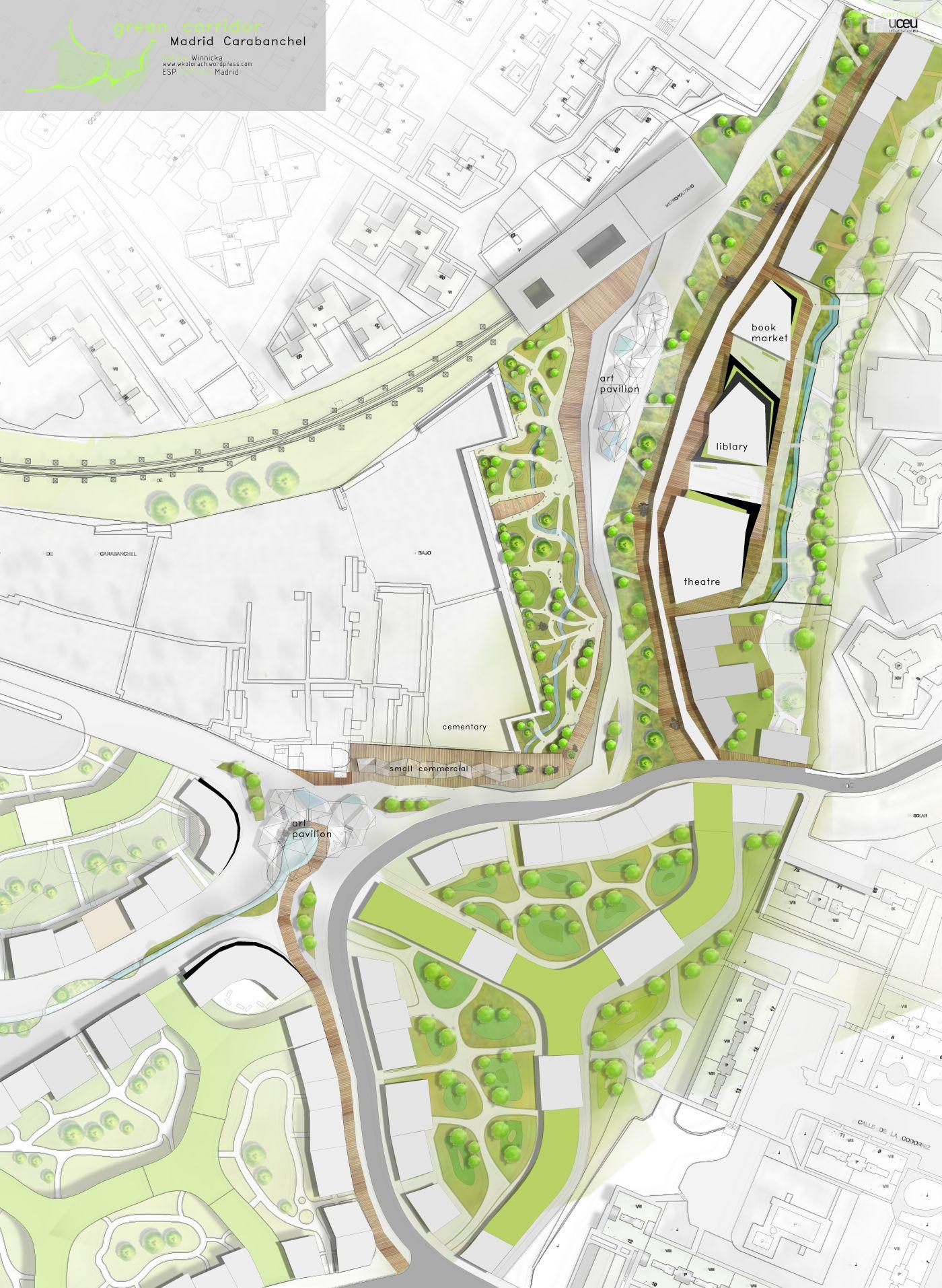 Green Corridor Caravanchel Landscape Plans Parking Design Green Corridor