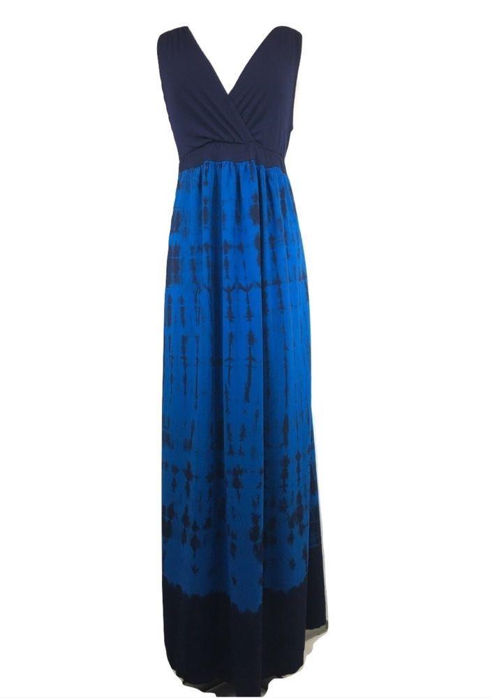 ba60cfb175f Liz Lange Maternity Tank Top Blue Black Tie Dye Maxi Dress Long Stretch Sz  Small