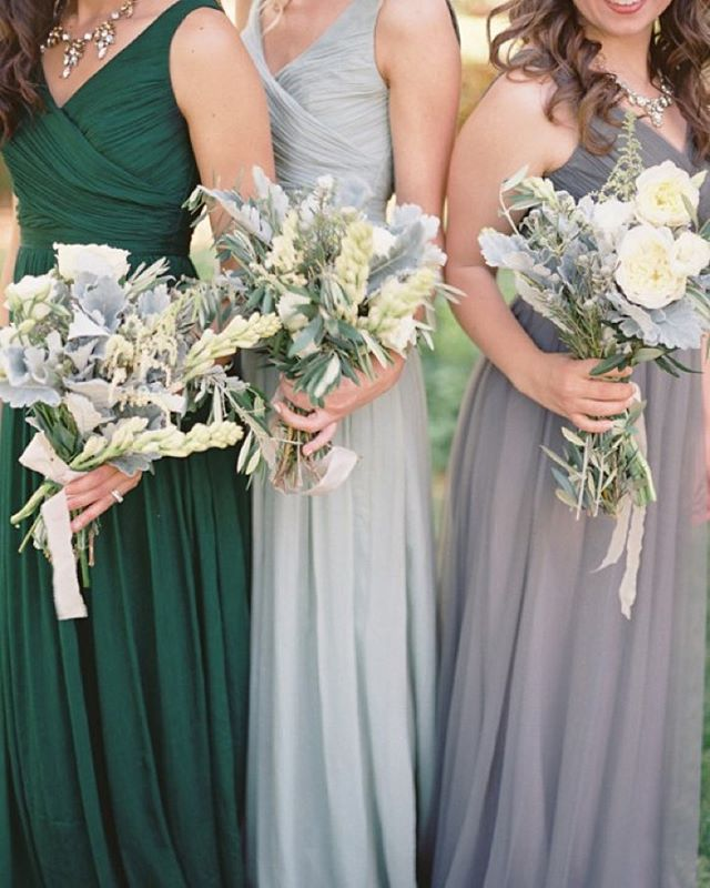 34aa9c3fe70 Herbal  bouquets and mix-and-match  bridesmaid dresses in muted tones makes  for the perfect palette! Dresses   jcrew. Photo   lauraheartsbilly.