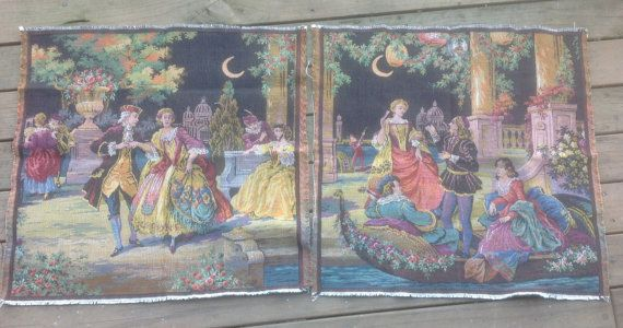"""Tapestries. Two Brocade Tapestries made in Belgium with """"Au Clair de la Lune"""" pattern. Frame, Make Into Cushions. by fleursenfrance. Explore more products on http://fleursenfrance.etsy.com"""