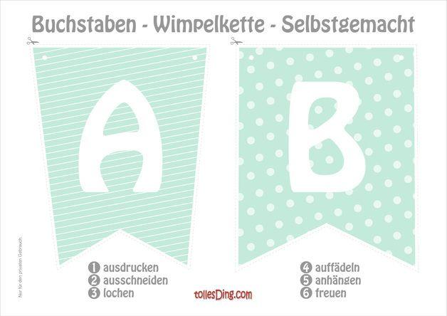 Kiddimalseite Wimpelkette Basteln 26 Buchstaben 12
