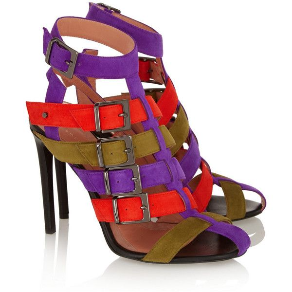 Roland Mouret Martor suede sandals ($820) ❤ liked on Polyvore featuring shoes, sandals, heels, strap sandals, buckle sandals, studded sandals, buckle shoes and strap high heel sandals