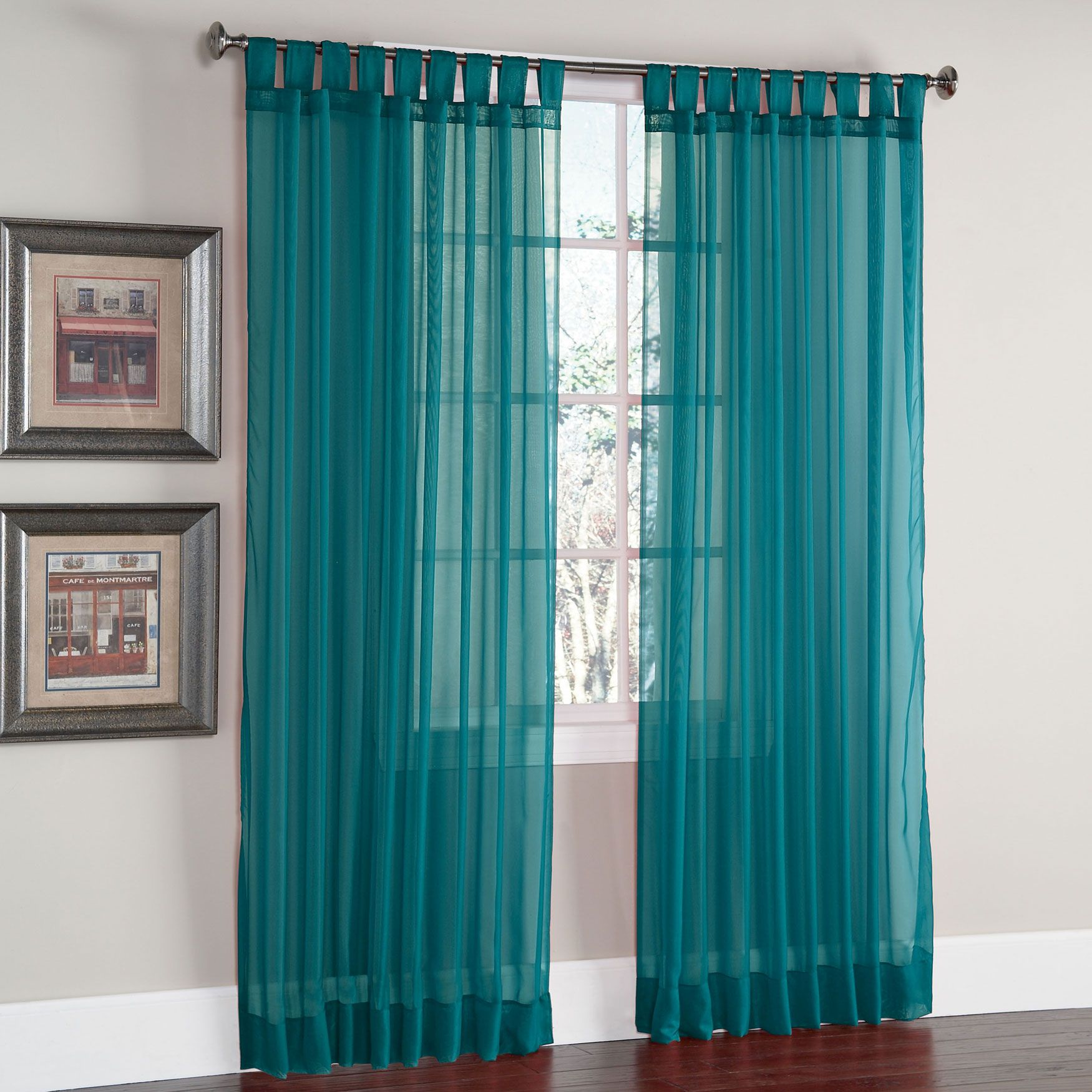 Blue Green Kitchen Curtains: Scenario® Voile Tab-Top Panels