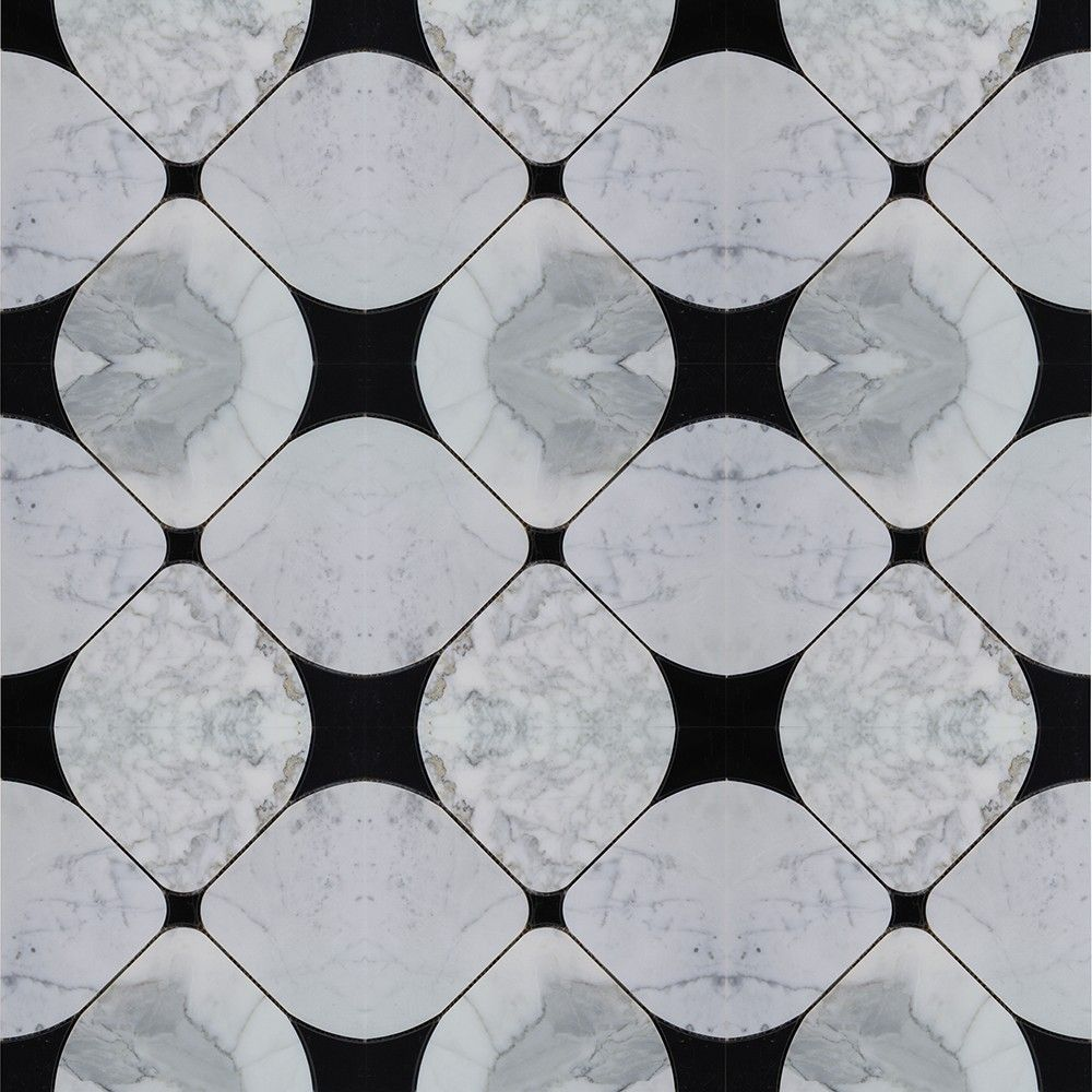 Shop For Highland Floret Black And Statuario Marble Tiles
