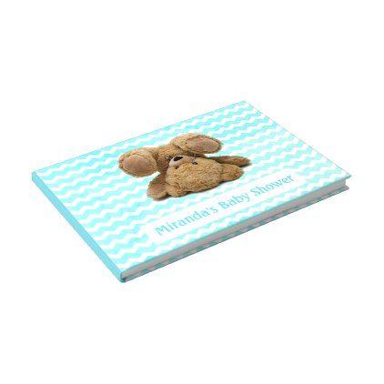 Teddy Bear Turquiose Chevron Baby Guestbook - baby gifts child new born gift idea diy cyo special unique design
