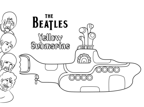 The Beatles Yellow Submarine cover art Coloring page Hey Judes