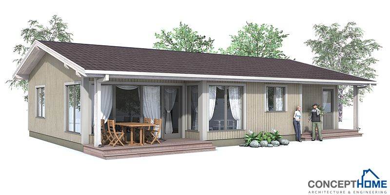 Small house plan, affordable to build, three bedrooms, covered ...