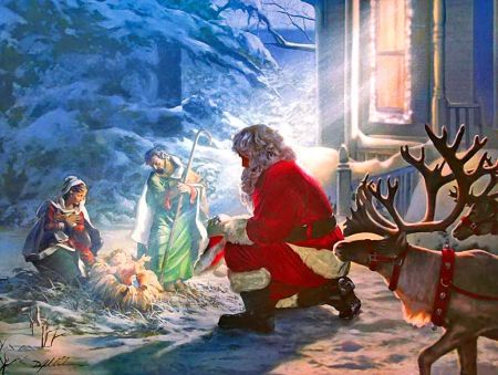 homage is a 500 piece jigsaw puzzle from sunsout featuring artwork by danny hahlbohm puzzle measures 18 x when complete our puzzles are made in the usa - Santa And Jesus