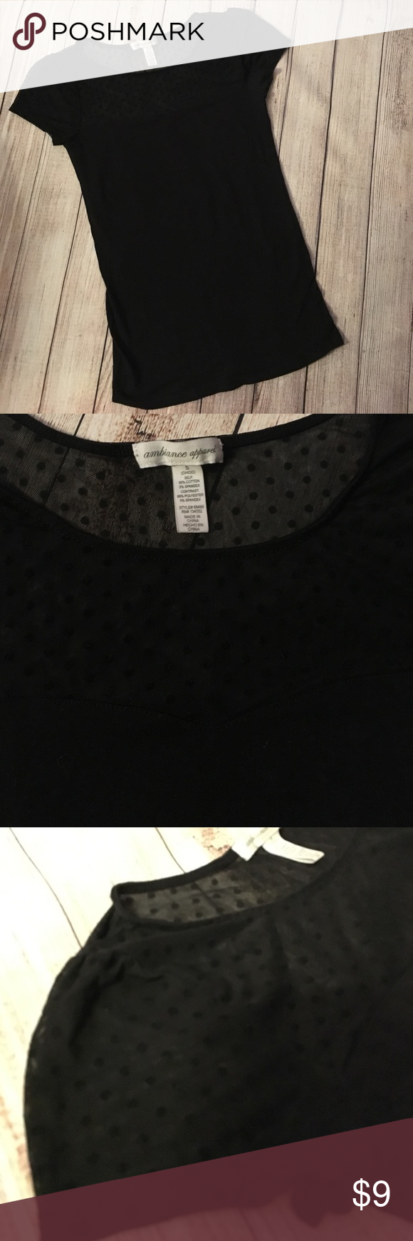 See through black Top/ tee small💞 New no tags, got it and never wore super cute see through mesh with polka dots in velvet material 💞 . Tops Tees - Short Sleeve