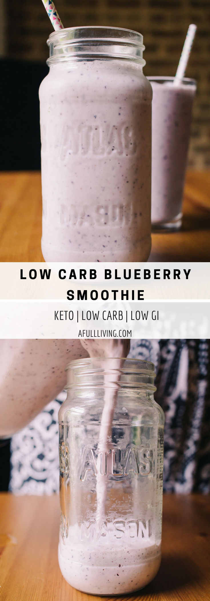 Low Carb Blueberry Smoothie, Keto, Low Sugar, Low GI, A Full Living #recipe #lowcarb #lowcarbrecipe