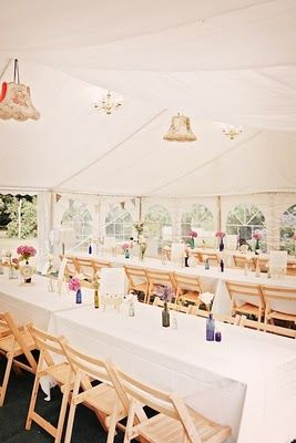 I want my marquee to be light and airy and to be decorated with old lampshades - really pretty.