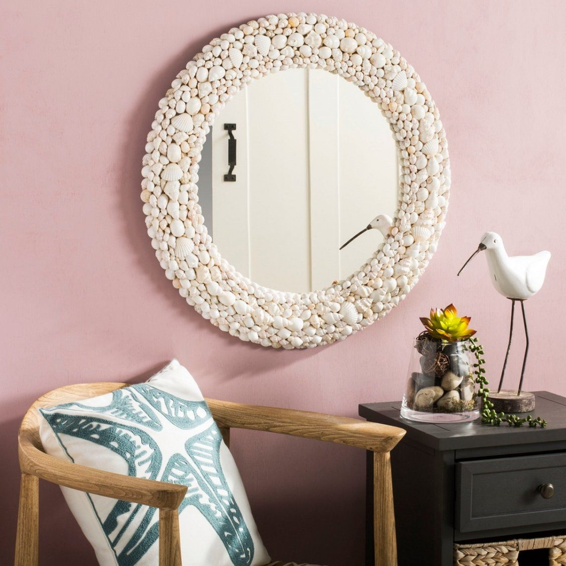 Transform Any Space Into An Ocean Inspired Oasis With This Contemporary Round Mirror Its Intricately Crafted Bo Framed Mirror Wall Shell Mirror Frames On Wall