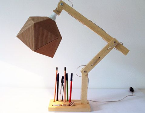 Wood Desk Lamp With Origami Paper Lampshade And Adjustable Arms Lamp For Reading With Pencil Holder Natural Wood Desk Lamp Wood Lamps Wooden Desk Lamp