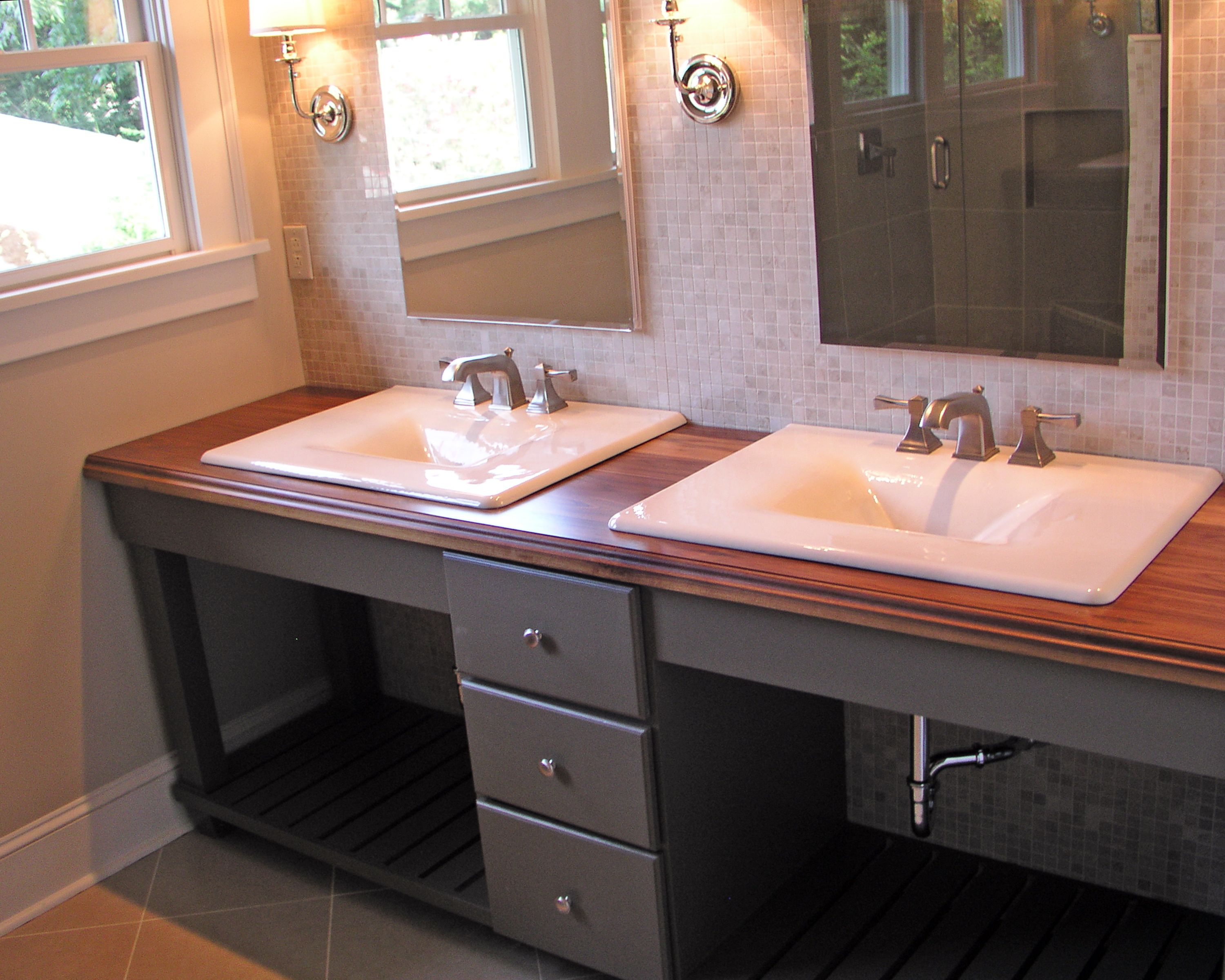 Contemporary Bathroom Countertops vanity double sink- butcher block countertops | cade's new home
