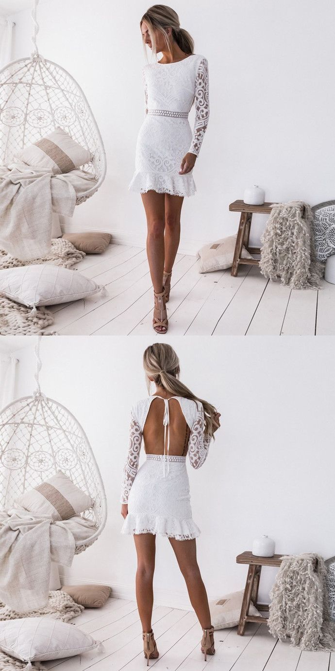 Sheath Crew Open Back Long Sleeves Short White Lace Homecoming Party Dress White Homecoming Dresses Party Dress Short Dress Party Night [ 1380 x 690 Pixel ]
