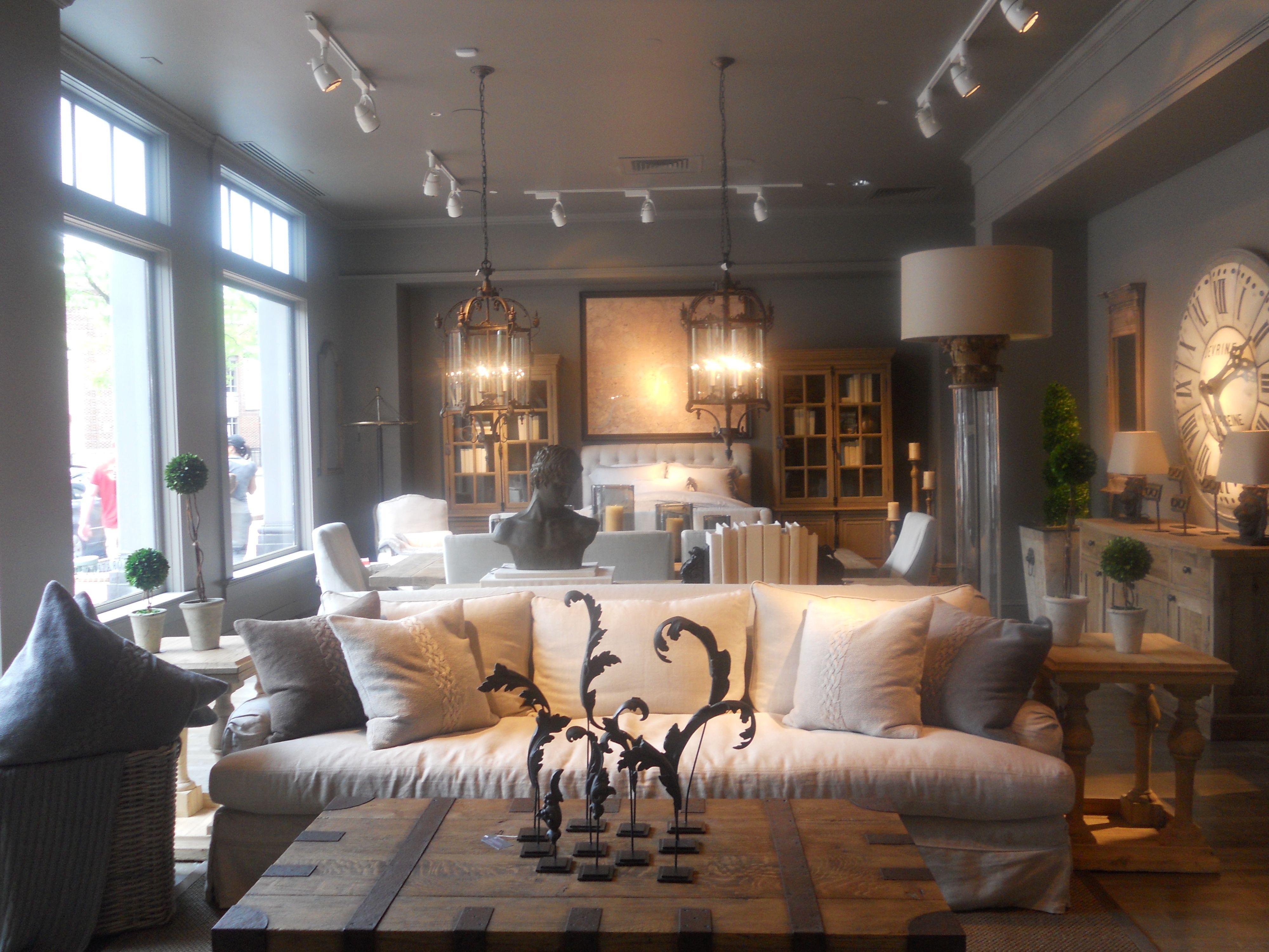 Restoration Hardware living room  Grey Inspiration  Elegant home decor Family room