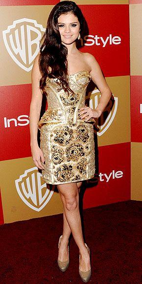 Selena gomez gold dress designer