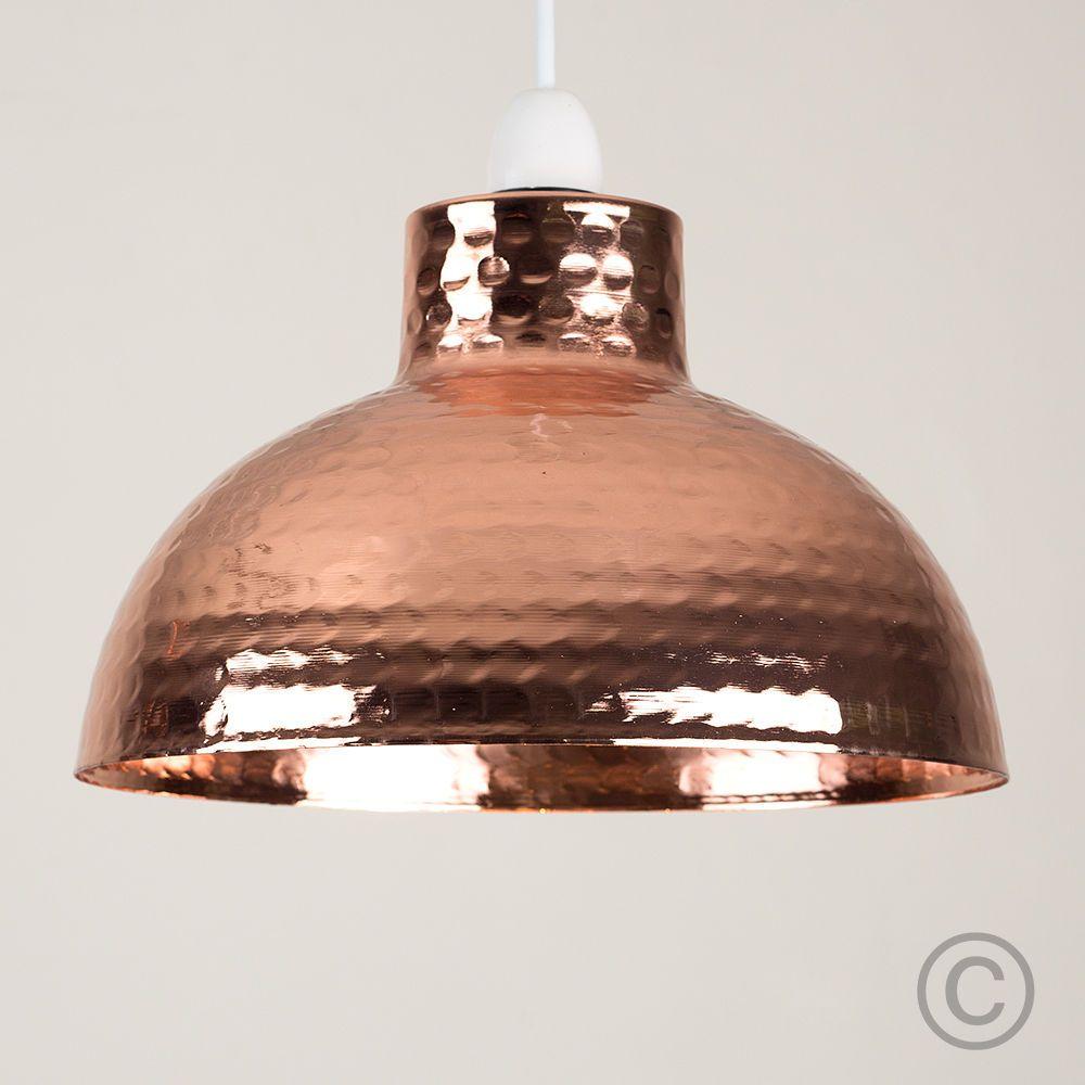 Modern Copper Hammered Effect Ceiling Pendant Light Shade Lounge ...