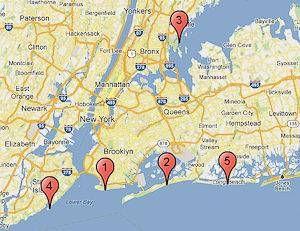 Carte New York Et Alentours.Cf Les Points Numerotes Pour L Emplacement Des Cinq