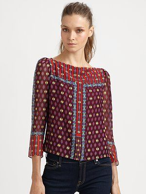 Nanette Lepore Seek Your Fortune Silk Top